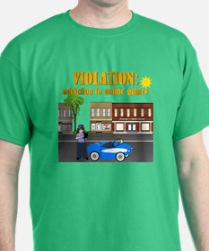 Addiction to Online Games Kelly Green T-Shirt