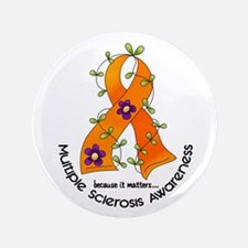 """Flower Ribbon MS 3.5"""" Button (100 pack)"""