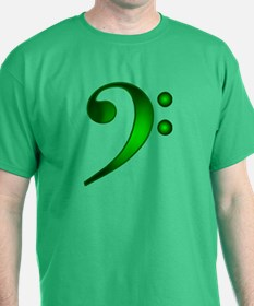 """Metallic"" Green Bass Clef T-Shirt"