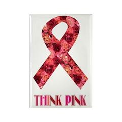 Think Pink Flower Design Rectangle Magnet (10 pack