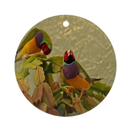 Lady Gouldian Finches Ornament (Round)