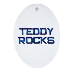 teddy rocks Oval Ornament