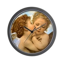 First Kiss by Bouguereau Wall Clock