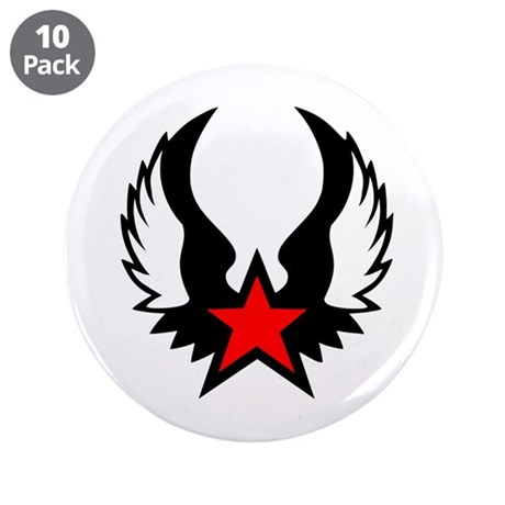 """Star - Wings 3.5"""" Button (10 pack)"""