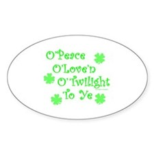 Peace, Love, Twilight St. Patrick's Oval Decal