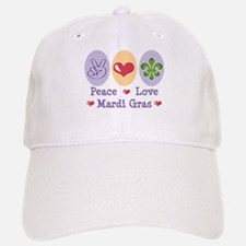 Peace Love Mardi Gras Baseball Baseball Cap