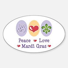 Peace Love Mardi Gras Oval Decal