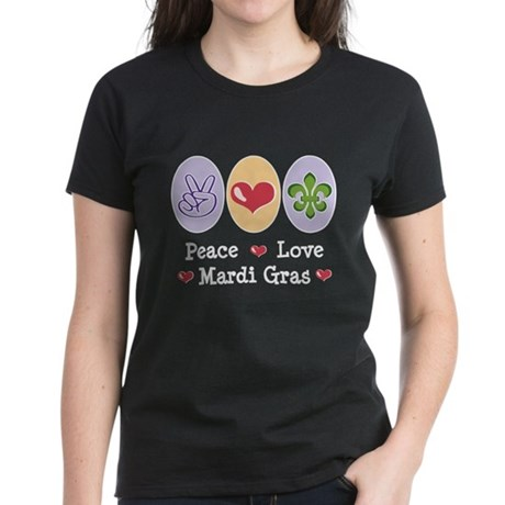 Peace Love Mardi Gras Women's Dark T-Shirt