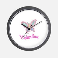 Pink Butterfly Valentina Wall Clock