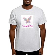 Pink Butterfly Valentina Ash Grey T-Shirt