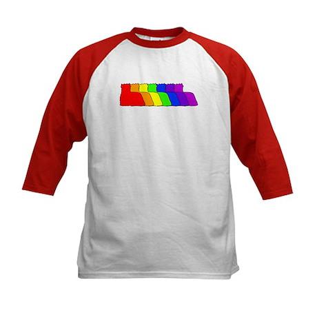 Rainbow Yorkie Kids Baseball Jersey