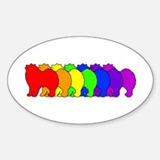 Rainbow Samoyed Oval Decal