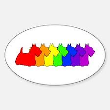 Rainbow Scottie Oval Decal