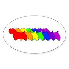 Rainbow Sealyham Oval Decal