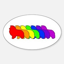 Rainbow Sheltie Oval Decal