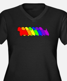 Rainbow Westie Women's Plus Size V-Neck Dark T-Shi