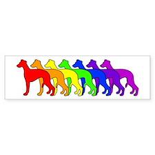 Rainbow Whippet Bumper Car Sticker