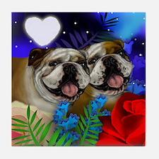 BULLDOG DOG LOVE HEART MOON Tile Coaster