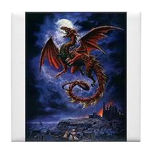 dragon over city Tile Coaster