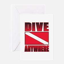 Dive Anywhere Everywhere Flag Greeting Card