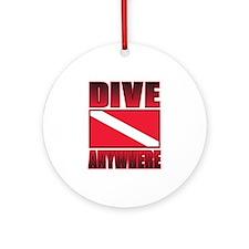Dive Anywhere Everywhere Flag Ornament (Round)