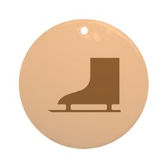 Brown Ice Skate Ornament (Round)