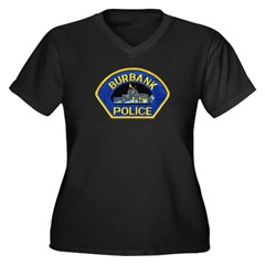 Burbank Police Women's Plus Size V-Neck Dark T-Shi