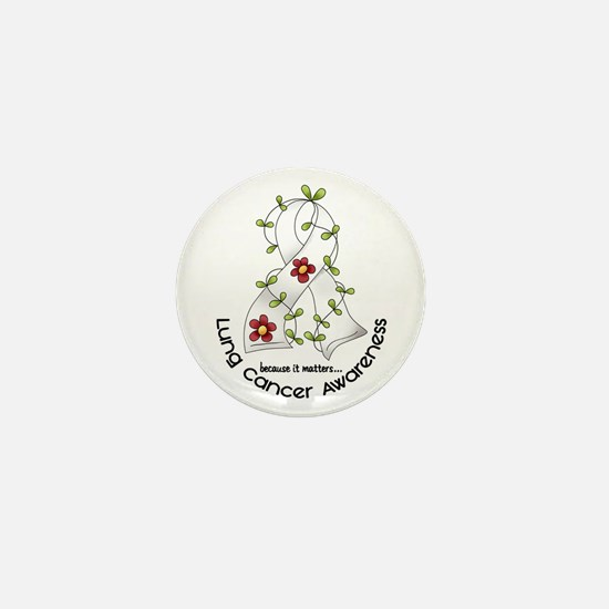 Flower Ribbon LUNG CANCER Mini Button