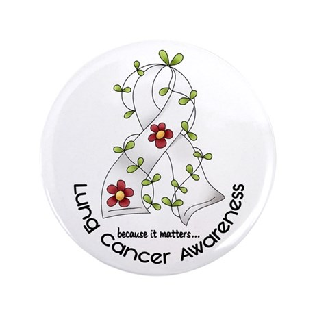 "Flower Ribbon LUNG CANCER 3.5"" Button"