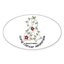 Flower Ribbon LUNG CANCER Oval Decal