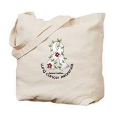 Flower Ribbon LUNG CANCER Tote Bag