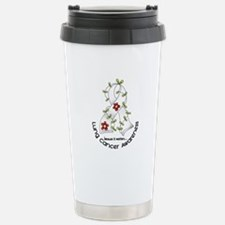 Flower Ribbon LUNG CANCER Travel Mug