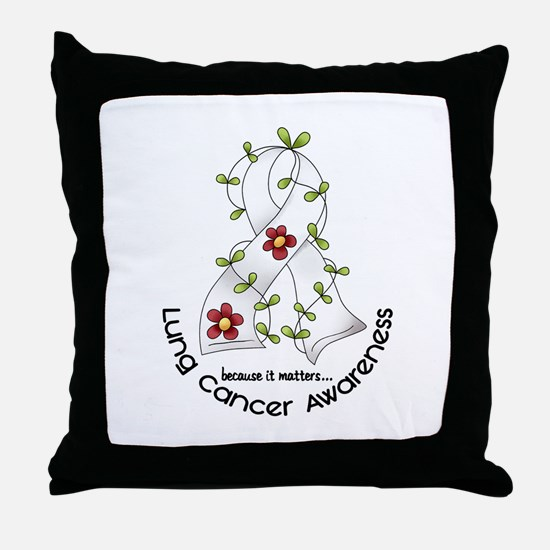 Flower Ribbon LUNG CANCER Throw Pillow