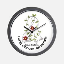 Flower Ribbon LUNG CANCER Wall Clock