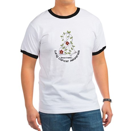Flower Ribbon LUNG CANCER Ringer T