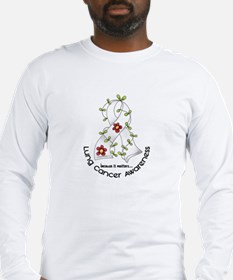 Flower Ribbon LUNG CANCER Long Sleeve T-Shirt