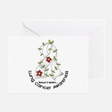 Flower Ribbon LUNG CANCER Greeting Card