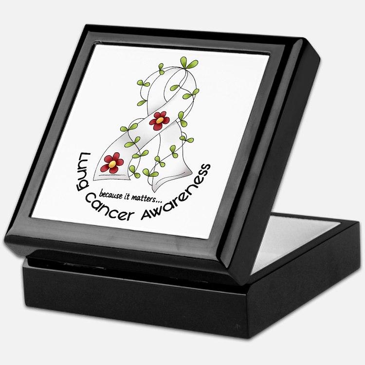 Flower Ribbon LUNG CANCER Keepsake Box