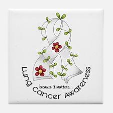 Flower Ribbon LUNG CANCER Tile Coaster