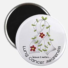 "Flower Ribbon LUNG CANCER 2.25"" Magnet (10 pack)"