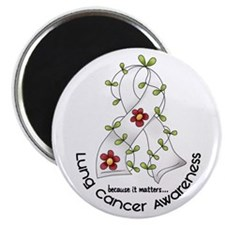 Flower Ribbon LUNG CANCER Magnet