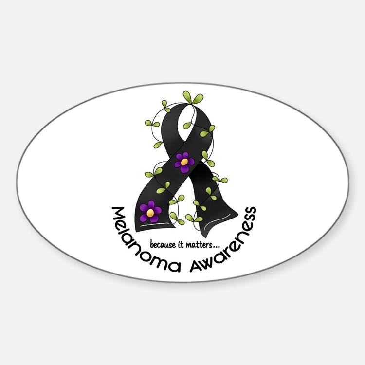Flower Ribbon MELANOMA Oval Decal
