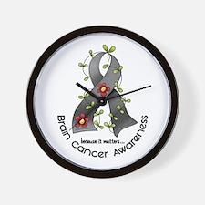 Flower Ribbon BRAIN CANCER Wall Clock