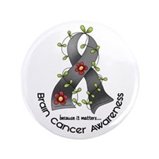 "Flower Ribbon BRAIN CANCER 3.5"" Button (100 pack)"