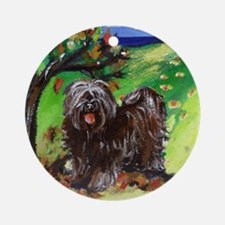 Tibetan Terrier Fall Autumn S Ornament (Round)