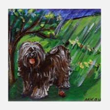 Tibetan Terrier Spring Season Tile Coaster
