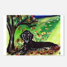 FLATTIE Fall Seasons dog art  Postcards (Package o