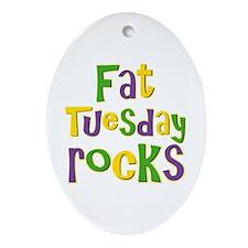 Fat Tuesday Rocks Oval Ornament