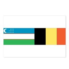 Uzbek and Belgian Flag Postcards (Package of 8)
