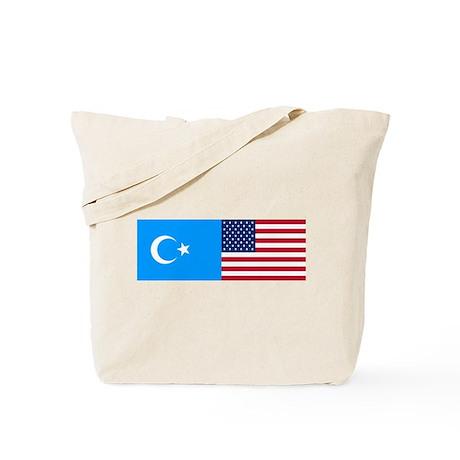 Uyghur and American Flag Tote Bag